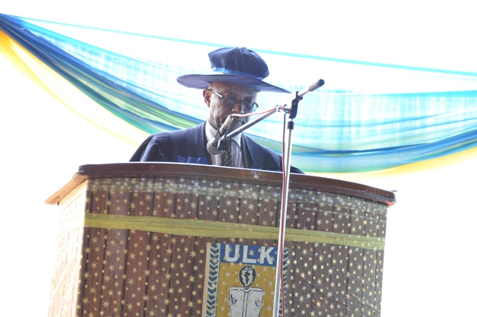Prof. Dr KALISA MBANDA, Chancellor of ULK Officially opening the graduation ceremony